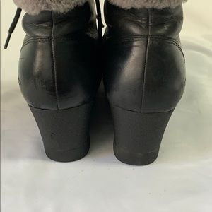 UGG Shoes - Ugg Janney black leather lace up boots with fur